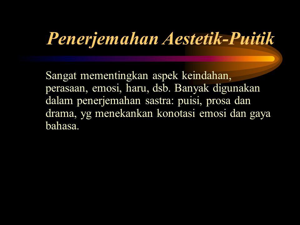 Penerjemahan Aestetik-Puitik