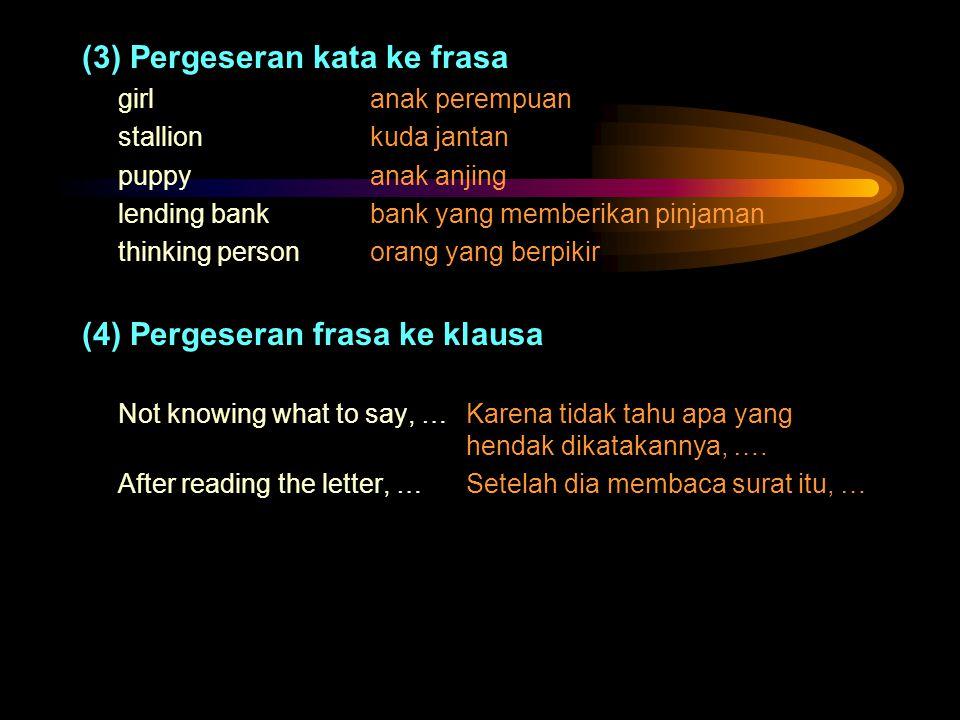 (3) Pergeseran kata ke frasa