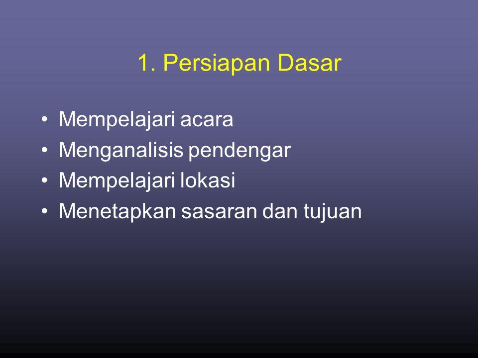 1. Persiapan Dasar Mempelajari acara Menganalisis pendengar