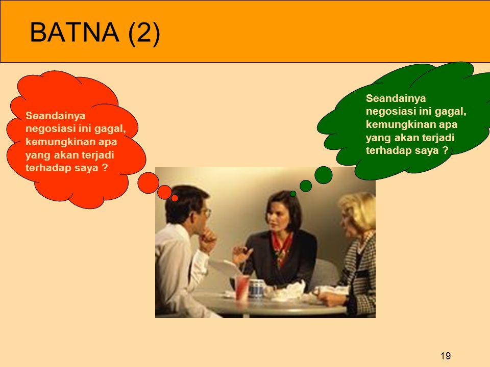 BATNA (2) Seandainya negosiasi ini gagal, Seandainya kemungkinan apa