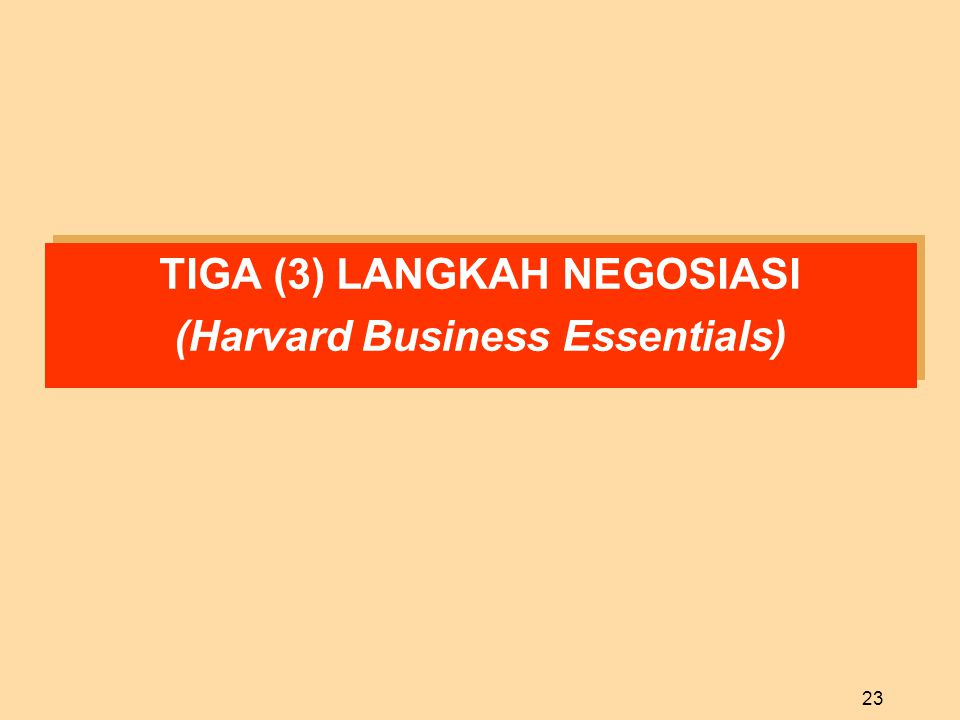 TIGA (3) LANGKAH NEGOSIASI (Harvard Business Essentials)