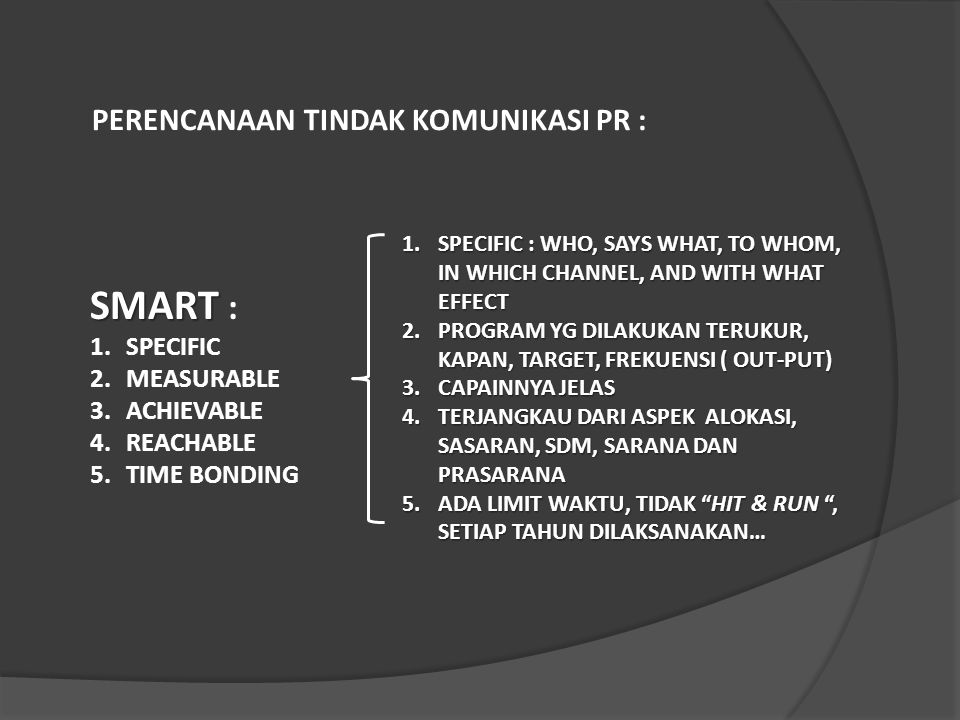 SMART : PERENCANAAN TINDAK KOMUNIKASI PR : SPECIFIC MEASURABLE