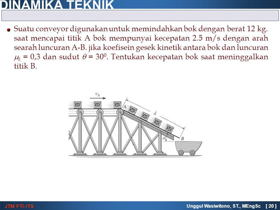 Suatu conveyor digunakan untuk memindahkan bok dengan berat 12 kg