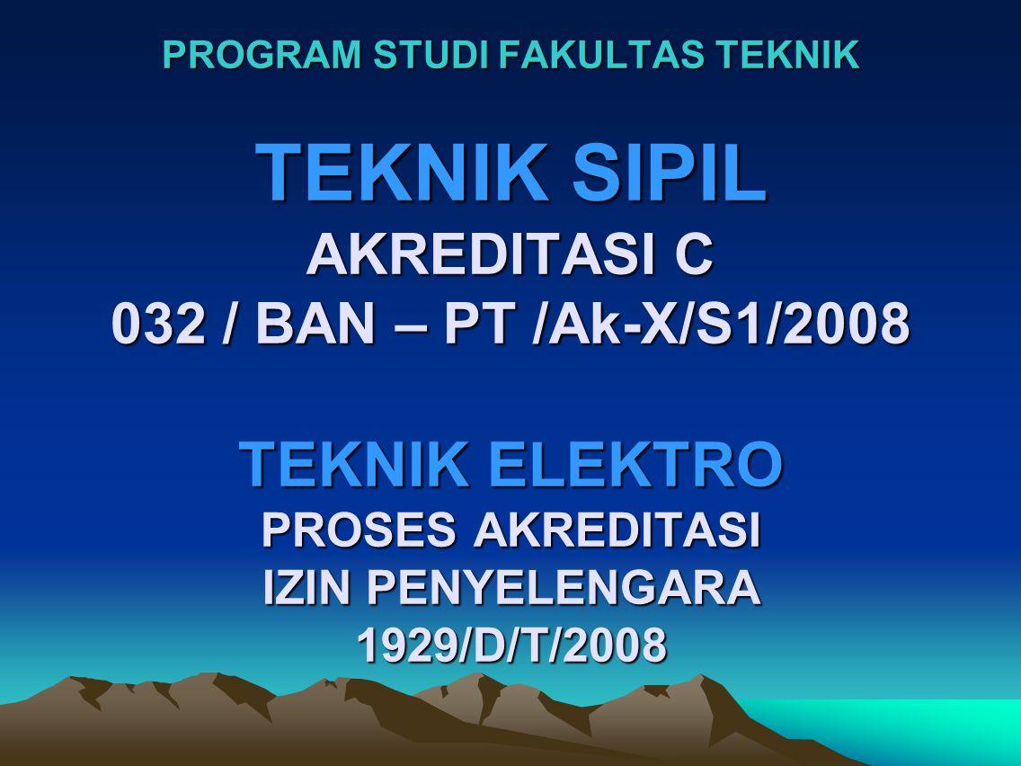 PROGRAM STUDI FAKULTAS TEKNIK TEKNIK SIPIL AKREDITASI C 032 / BAN – PT /Ak-X/S1/2008 TEKNIK ELEKTRO PROSES AKREDITASI IZIN PENYELENGARA 1929/D/T/2008
