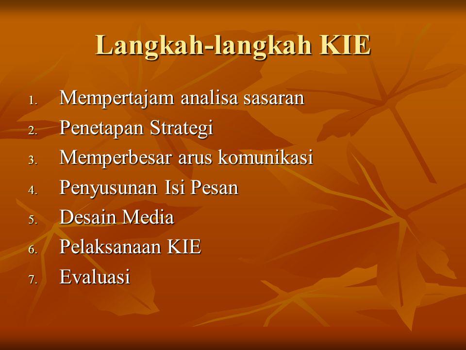 Langkah-langkah KIE Mempertajam analisa sasaran Penetapan Strategi