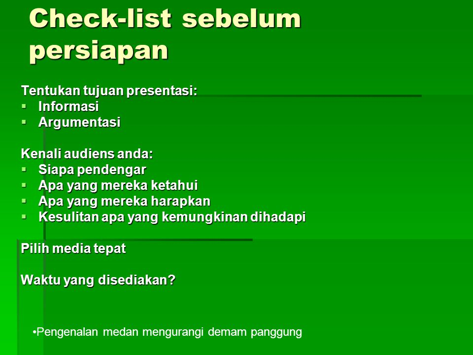 Check-list sebelum persiapan