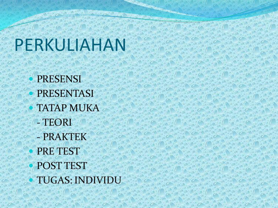 PERKULIAHAN PRESENSI PRESENTASI TATAP MUKA - TEORI - PRAKTEK PRE TEST
