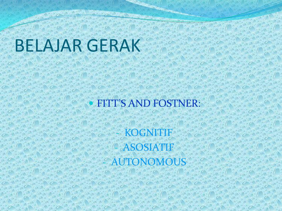BELAJAR GERAK FITT'S AND FOSTNER: KOGNITIF ASOSIATIF AUTONOMOUS