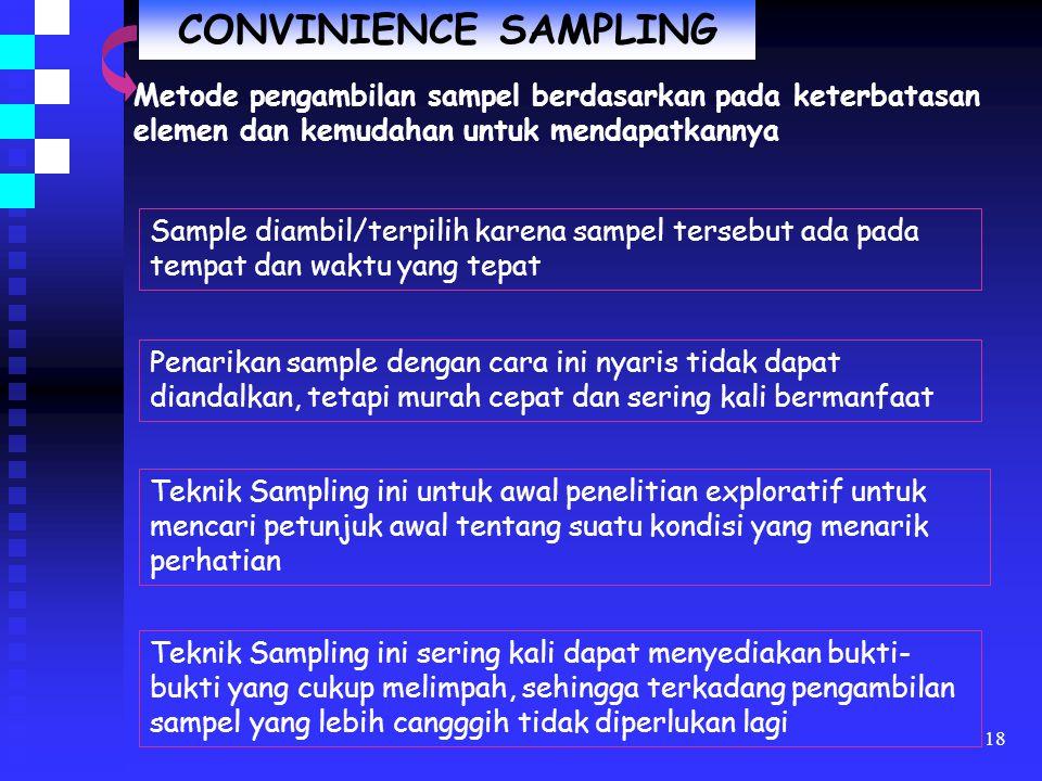 CONVINIENCE SAMPLING Metode pengambilan sampel berdasarkan pada keterbatasan elemen dan kemudahan untuk mendapatkannya.