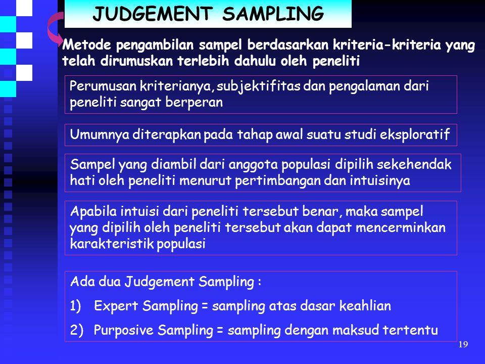 JUDGEMENT SAMPLING Metode pengambilan sampel berdasarkan kriteria-kriteria yang telah dirumuskan terlebih dahulu oleh peneliti.