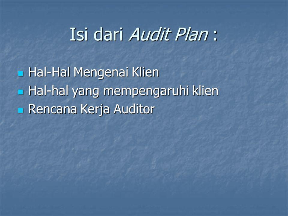 Isi dari Audit Plan : Hal-Hal Mengenai Klien