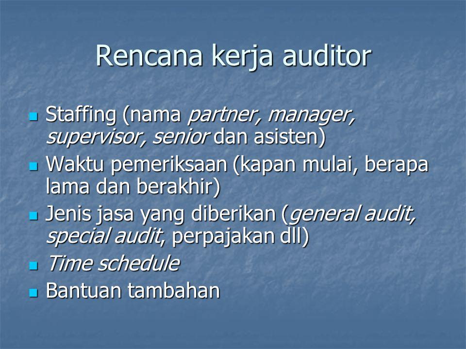 Rencana kerja auditor Staffing (nama partner, manager, supervisor, senior dan asisten) Waktu pemeriksaan (kapan mulai, berapa lama dan berakhir)