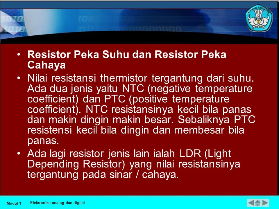 Resistor Peka Suhu dan Resistor Peka Cahaya