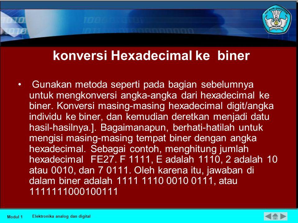 konversi Hexadecimal ke biner