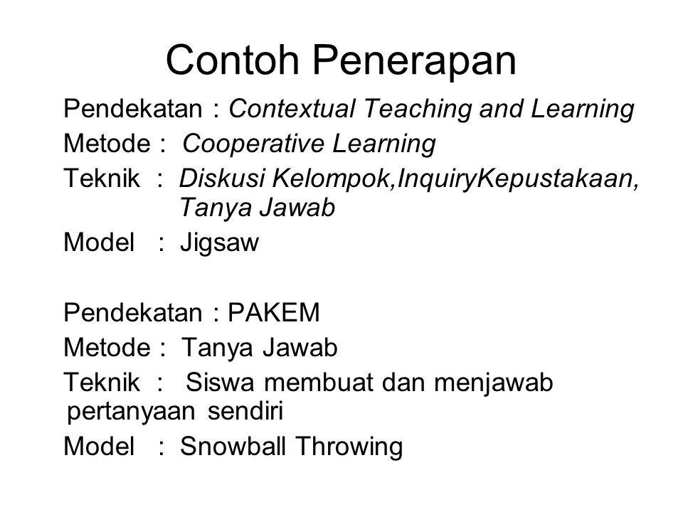 Contoh Penerapan Pendekatan : Contextual Teaching and Learning