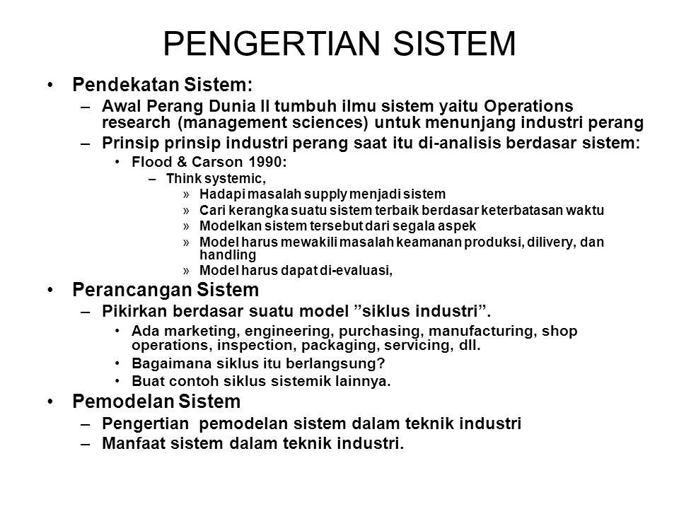 PENGERTIAN SISTEM Pendekatan Sistem: Perancangan Sistem