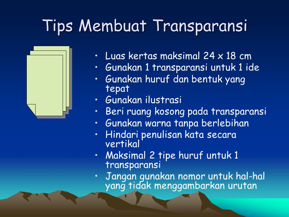 Tips Membuat Transparansi
