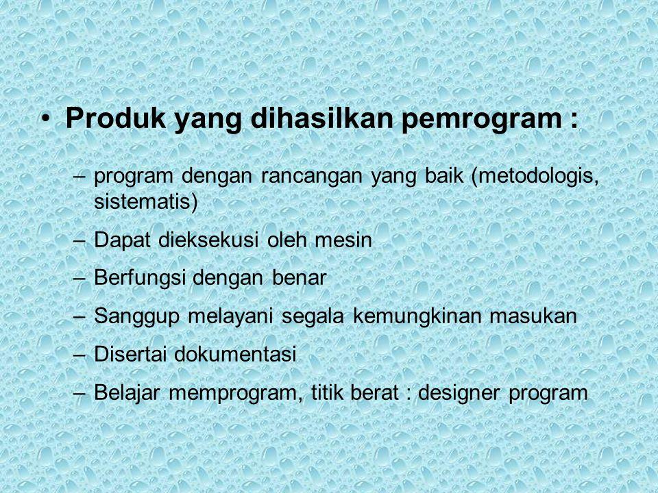 Produk yang dihasilkan pemrogram :