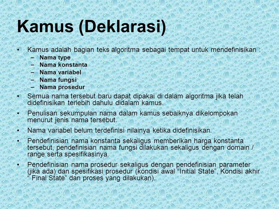 Kamus (Deklarasi) Kamus adalah bagian teks algoritma sebagai tempat untuk mendefinisikan : Nama type.