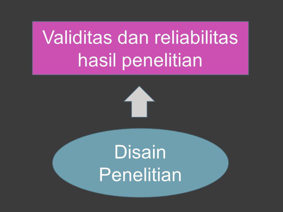 Validitas dan reliabilitas hasil penelitian
