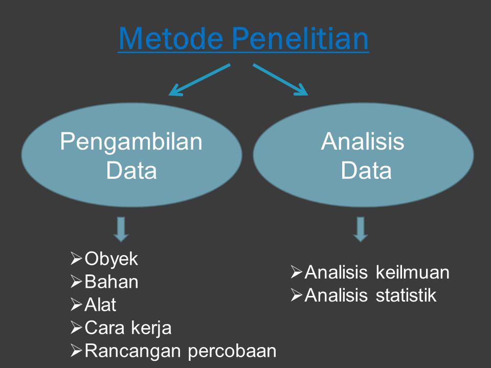 Metode Penelitian Pengambilan Data Analisis Data Obyek
