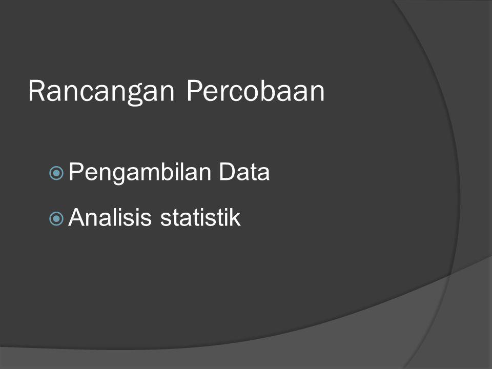 Rancangan Percobaan Pengambilan Data Analisis statistik