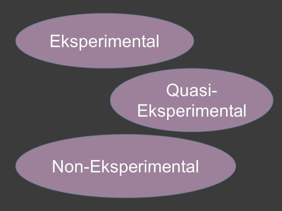Eksperimental Quasi-Eksperimental Non-Eksperimental