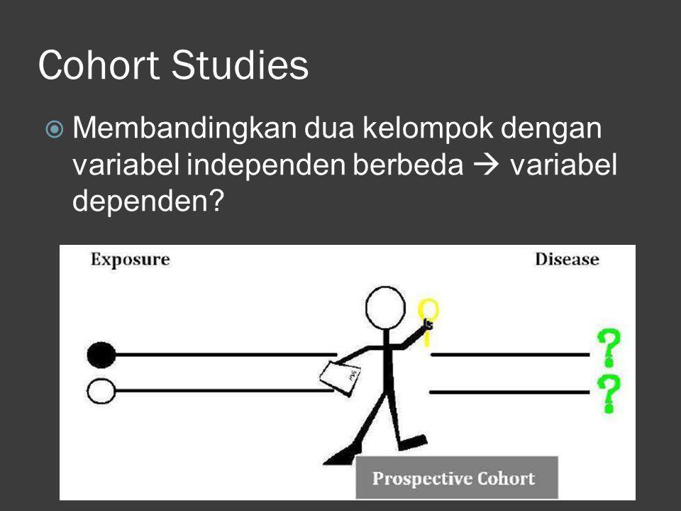 Cohort Studies Membandingkan dua kelompok dengan variabel independen berbeda  variabel dependen