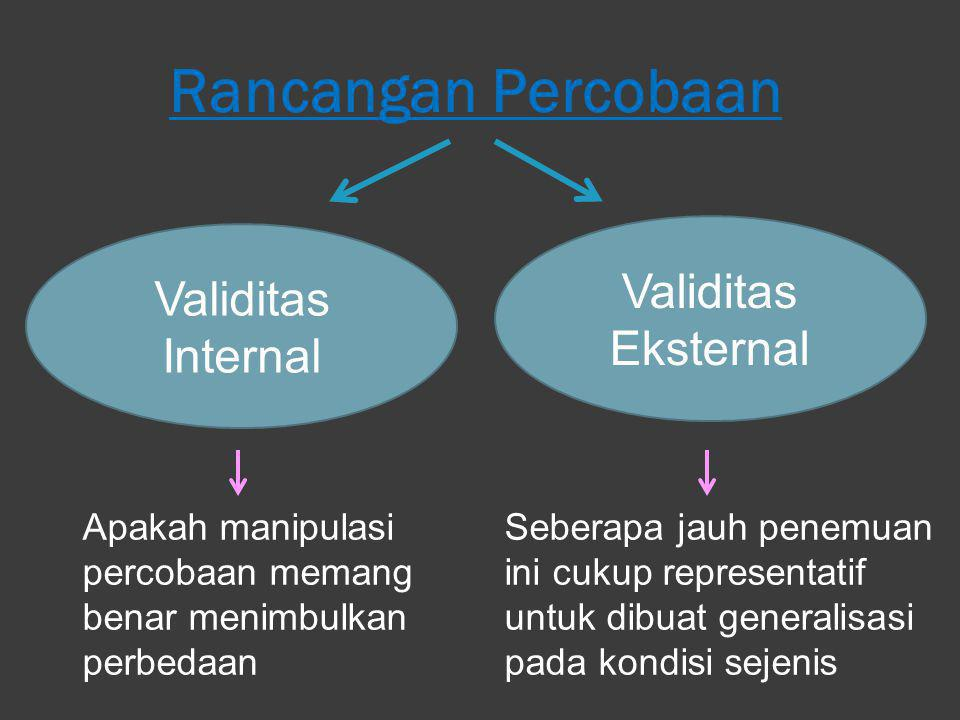 Rancangan Percobaan Validitas Eksternal Validitas Internal