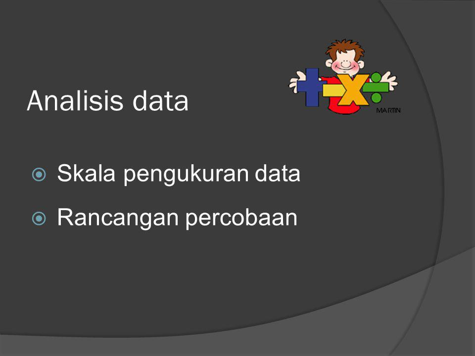 Analisis data Skala pengukuran data Rancangan percobaan