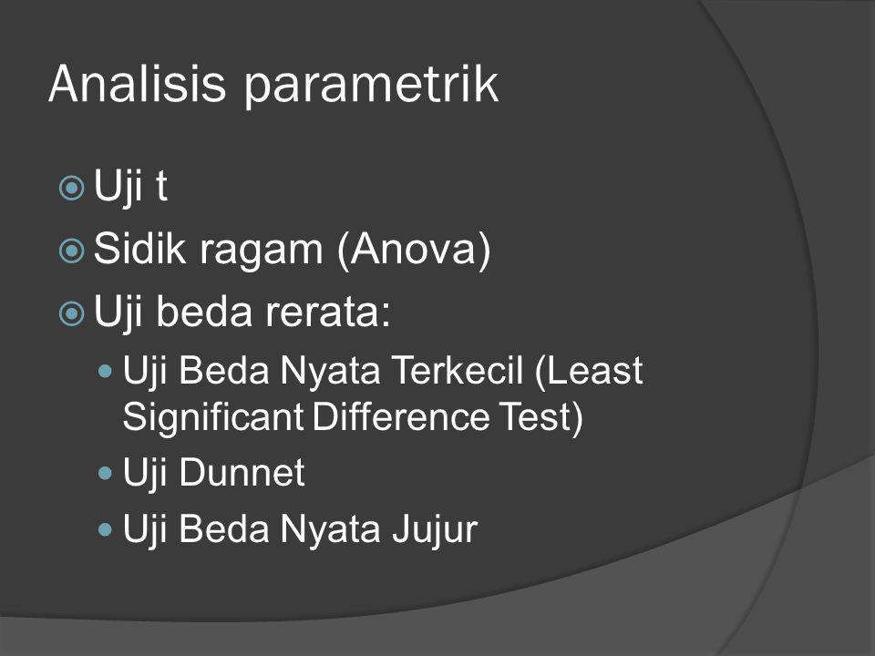 Analisis parametrik Uji t Sidik ragam (Anova) Uji beda rerata: