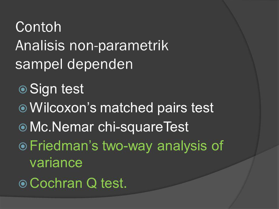 Contoh Analisis non-parametrik sampel dependen