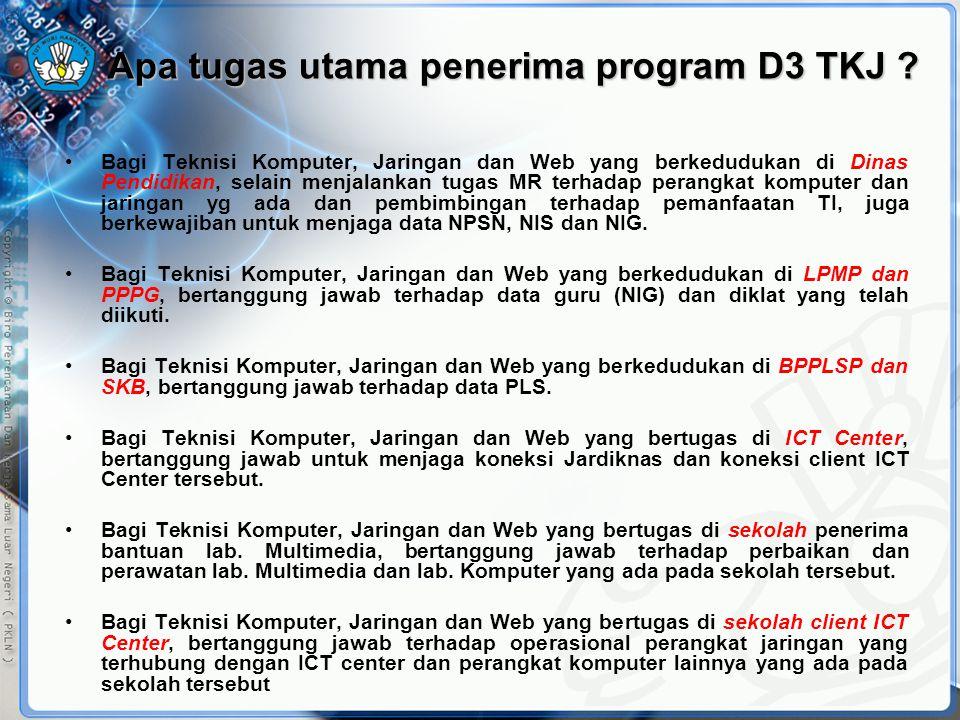 Apa tugas utama penerima program D3 TKJ