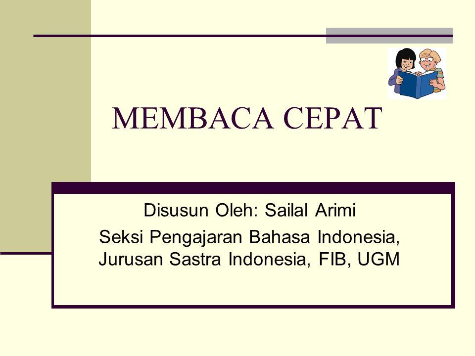 MEMBACA CEPAT Disusun Oleh: Sailal Arimi