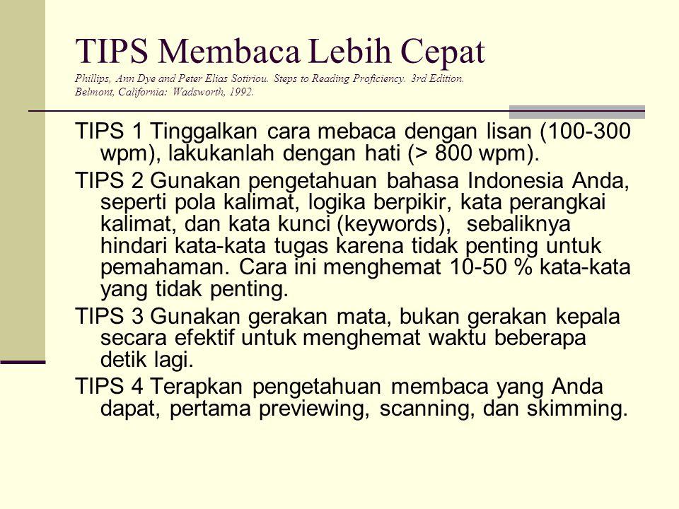 TIPS Membaca Lebih Cepat Phillips, Ann Dye and Peter Elias Sotiriou