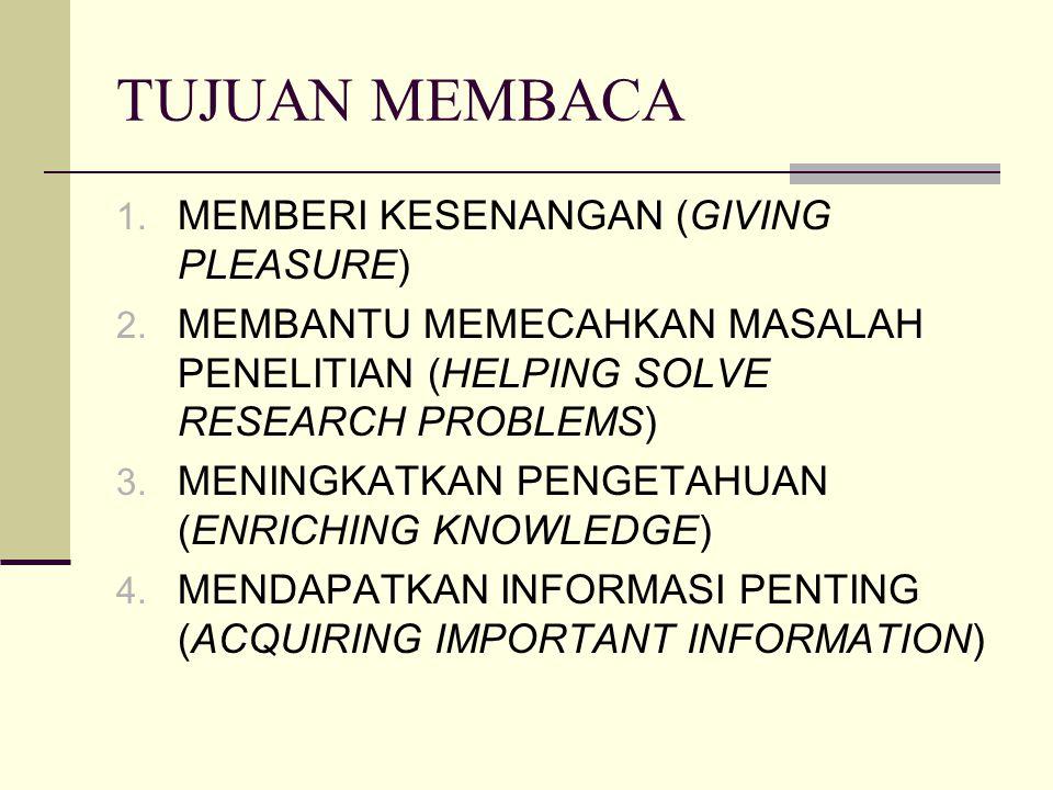 TUJUAN MEMBACA MEMBERI KESENANGAN (GIVING PLEASURE)