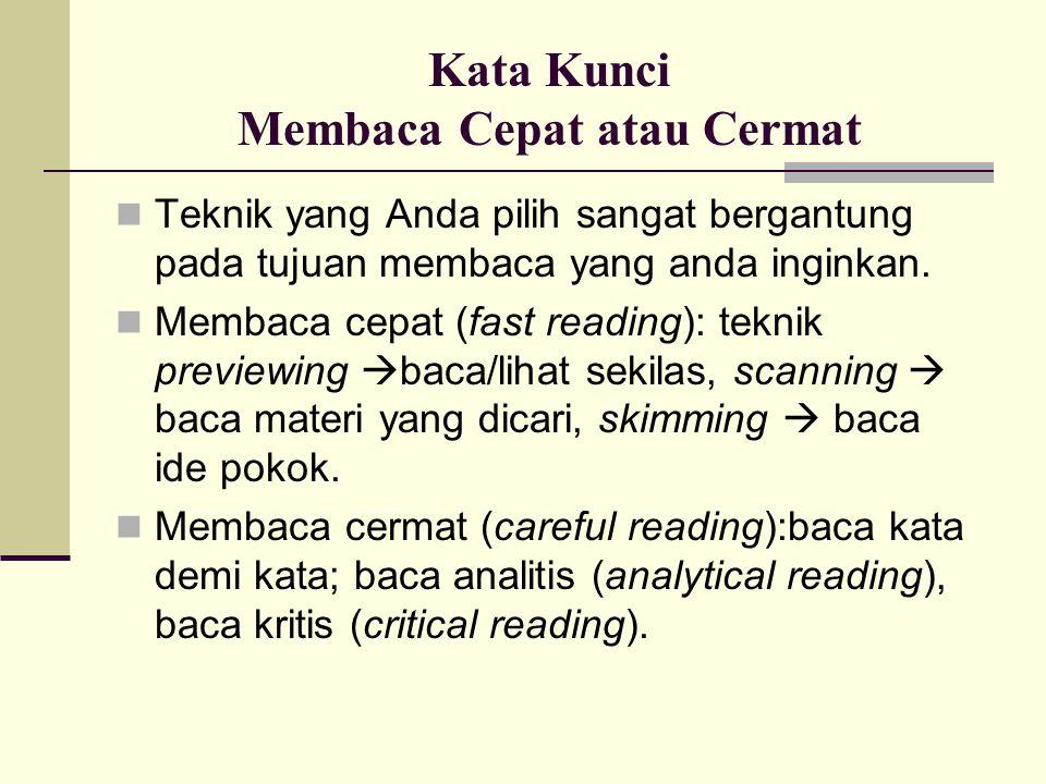 Kata Kunci Membaca Cepat atau Cermat