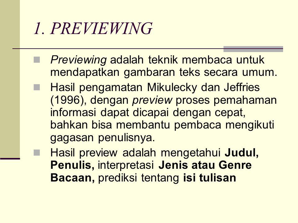 1. PREVIEWING Previewing adalah teknik membaca untuk mendapatkan gambaran teks secara umum.