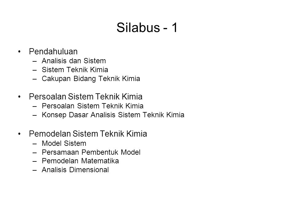 Silabus - 1 Pendahuluan Persoalan Sistem Teknik Kimia