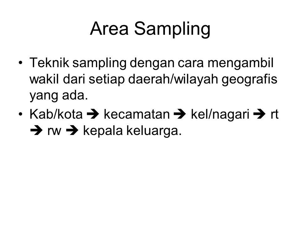 Area Sampling Teknik sampling dengan cara mengambil wakil dari setiap daerah/wilayah geografis yang ada.