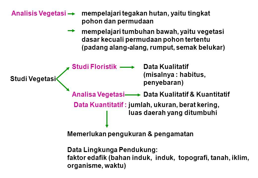 Analisis Vegetasi. mempelajari tegakan hutan, yaitu tingkat