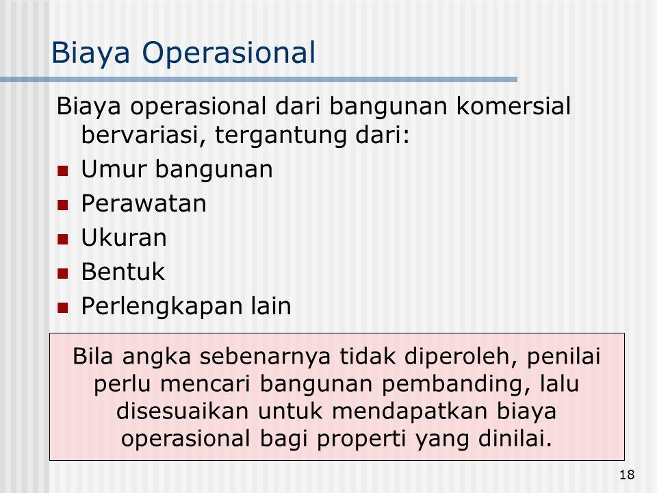 Biaya Operasional Biaya operasional dari bangunan komersial bervariasi, tergantung dari: Umur bangunan.