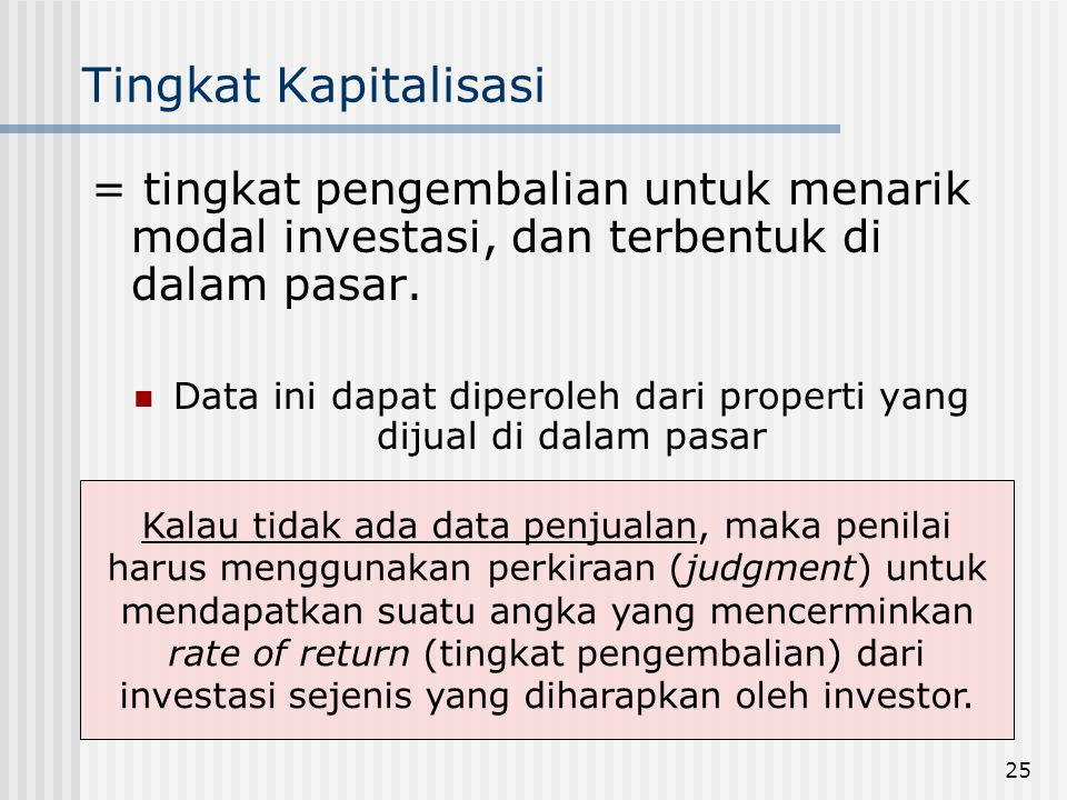 Data ini dapat diperoleh dari properti yang dijual di dalam pasar