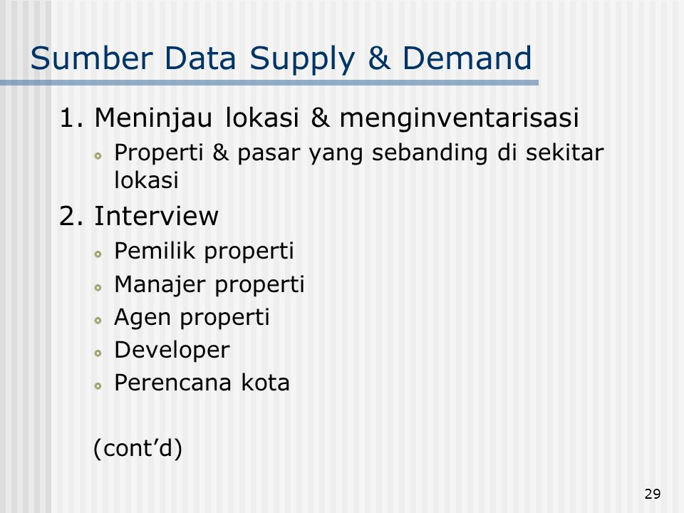 Sumber Data Supply & Demand