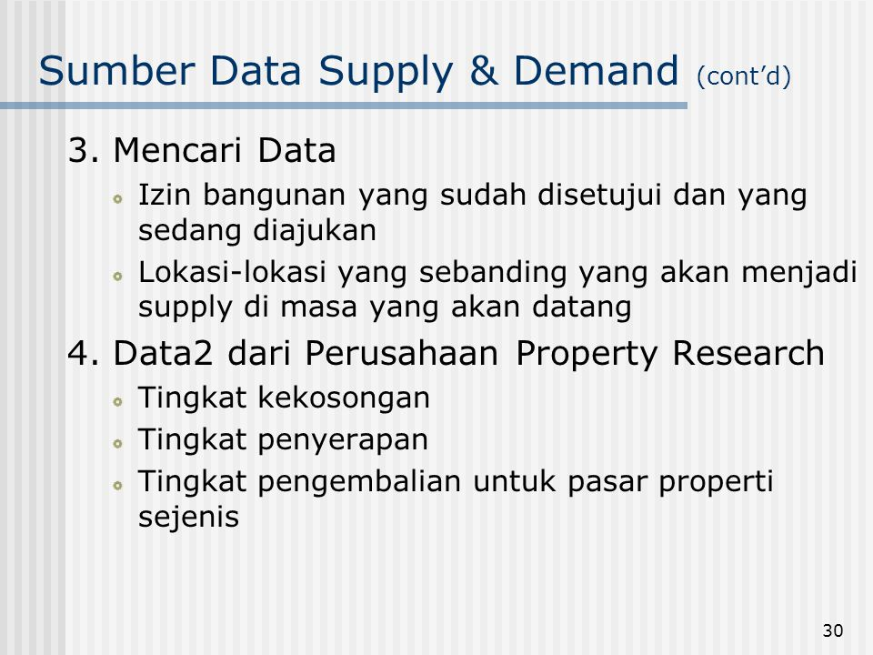 Sumber Data Supply & Demand (cont'd)