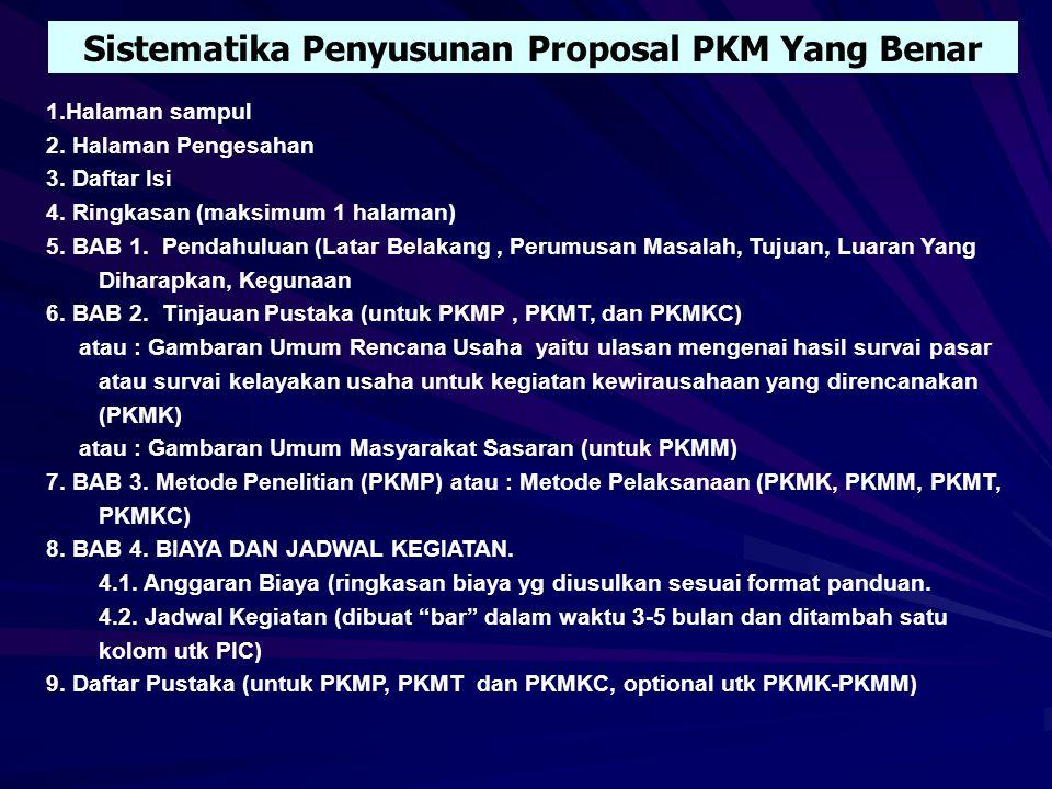 Sistematika Penyusunan Proposal PKM Yang Benar
