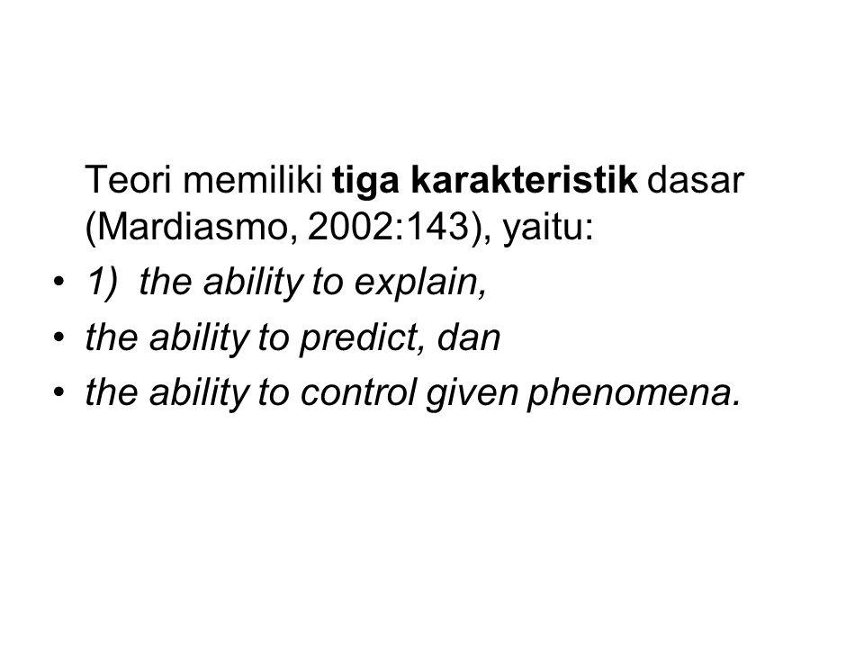 Teori memiliki tiga karakteristik dasar (Mardiasmo, 2002:143), yaitu: