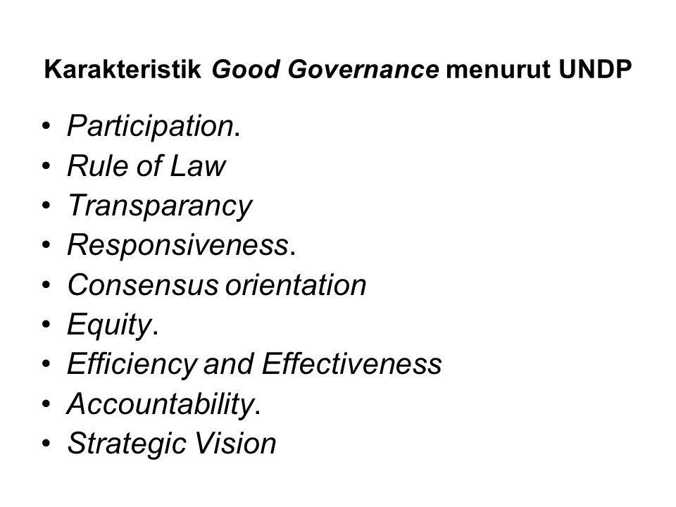 Karakteristik Good Governance menurut UNDP
