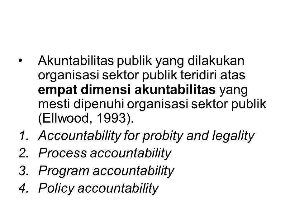 Akuntabilitas publik yang dilakukan organisasi sektor publik teridiri atas empat dimensi akuntabilitas yang mesti dipenuhi organisasi sektor publik (Ellwood, 1993).