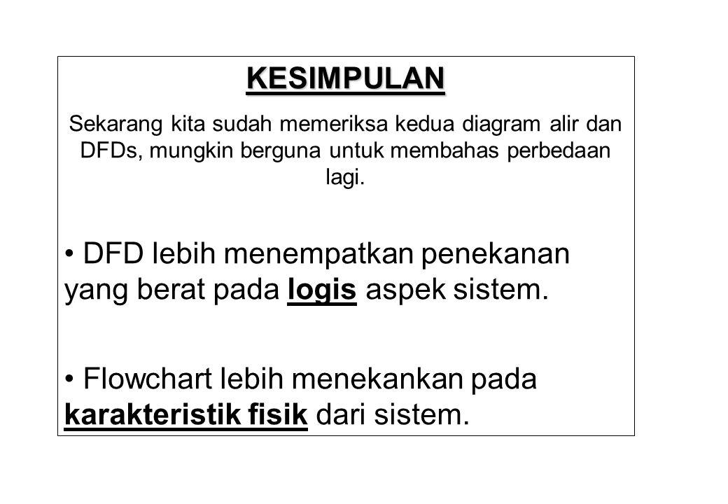 • DFD lebih menempatkan penekanan yang berat pada logis aspek sistem.